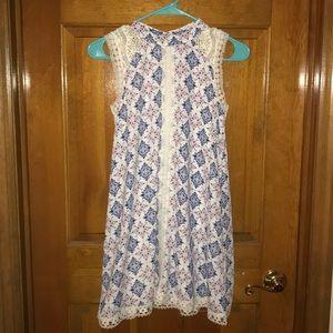Kiddo Navy/cream sleeveless dress with lace